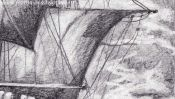 Bleistiftzeichnung Segelschiff (Detail 5)