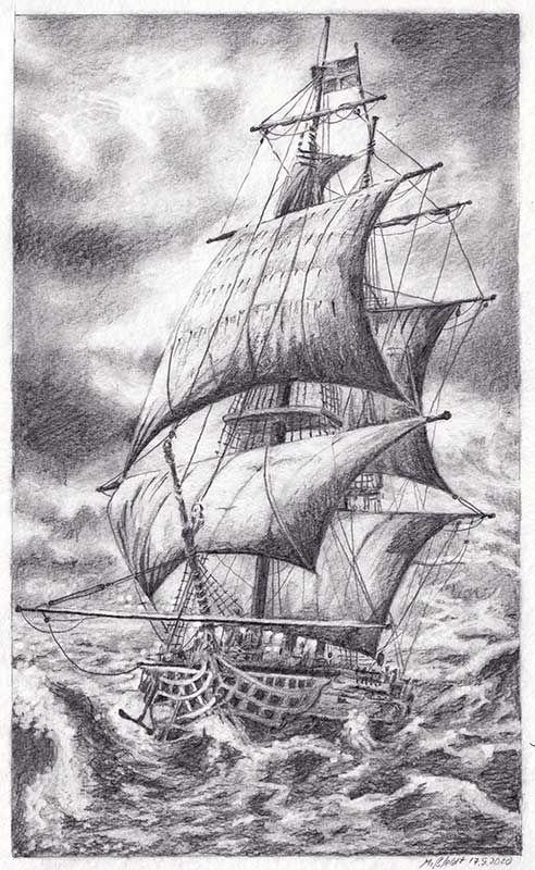Segelschiff (Bleistiftzeichnung)