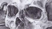 Bleistiftzeichnung Totenkopf (Detail 1)