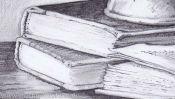 Bleistiftzeichnung Bücher (Detail 3)