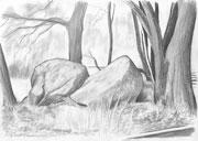 Hügelgrab (Bleistiftzeichnung)
