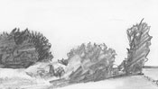 Landschaft Bleistiftzeichnung Bäume