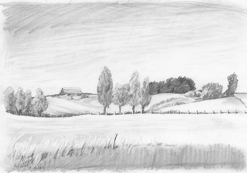 Landschaft bleistiftzeichnung - bild von martin mißfeldt
