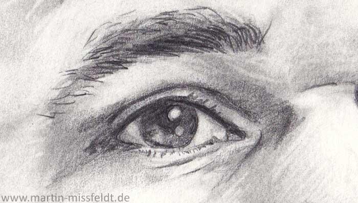 Auge zeichnen, Portraitzeichnung (Detail 1)
