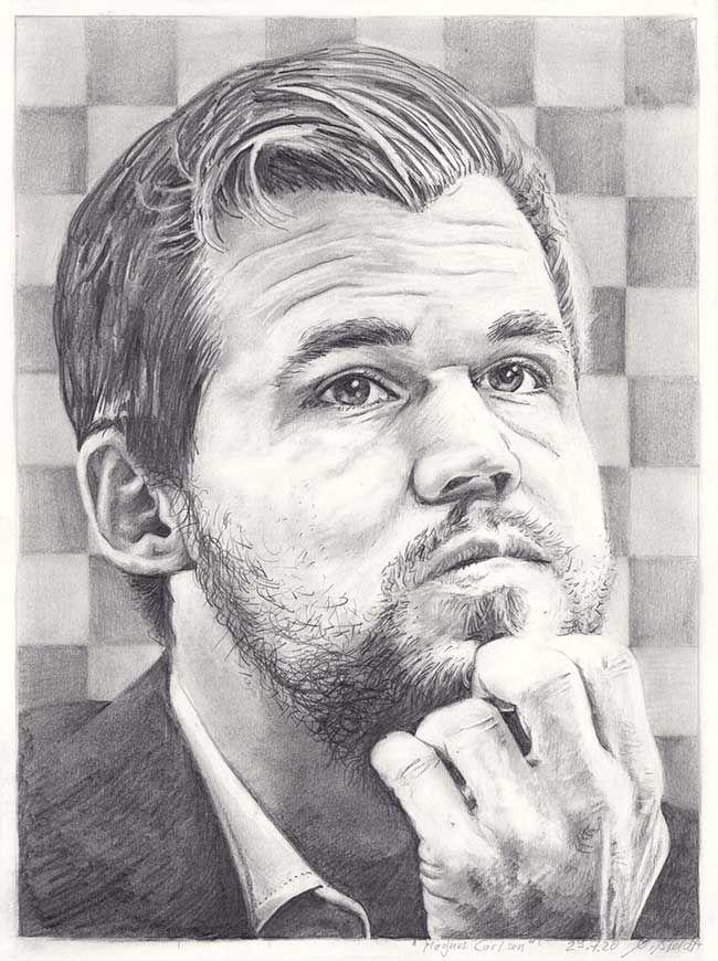 Portraitzeichnung von Magnus Carlsen