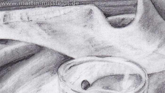 Stillleben Apfel Birne Glas (Detail 1)