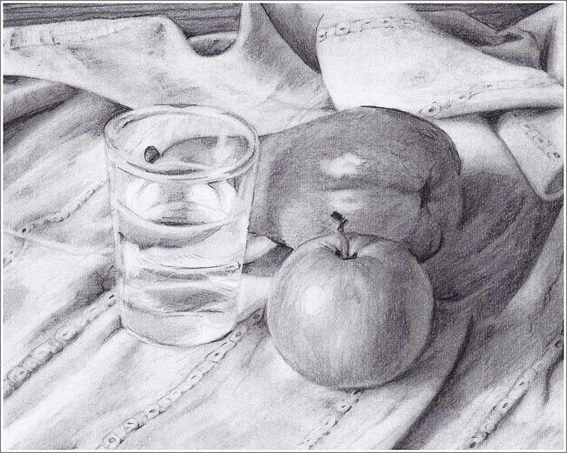 Stillleben mit Apfel, Birne und Glas