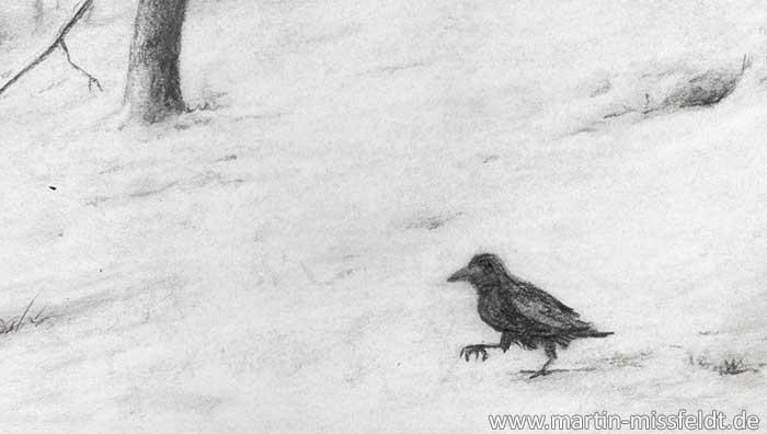 Rabe im Schnee (Detail 1)
