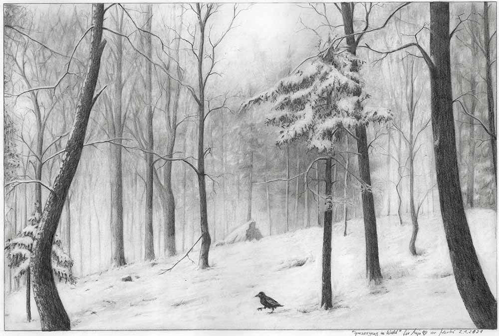 Zeichnung Winterlandschaft Wald