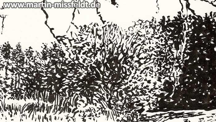 Landschaftszeichnung: Bäume mit Blättern (Detail 1)
