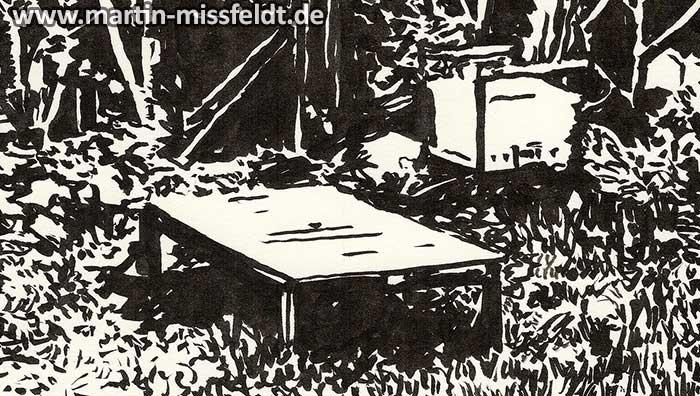 Zeichnung einer Liege im Garten (Detail 1)