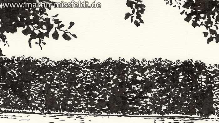 Wukensee (Grafik, Brush-Pen-Zeichnung) (Detail 1)