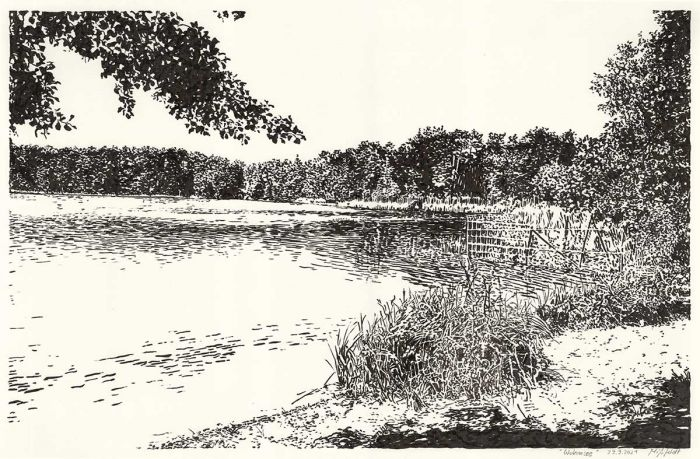 Wukensee (Grafik, Brush-Pen-Zeichnung)
