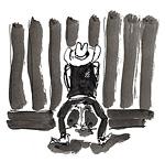 13: Cowboy pinkelt an Saloon-Rückwand