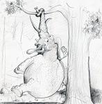 Elefant, aufgehängt (Cartoon)