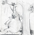 Tierische Cartoons: Cartoon: Fetter Elefant aufgehängt