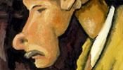 Mann mit Schnurrbart und weißem Kragen