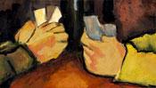 Die Hände mit den Spielkarten