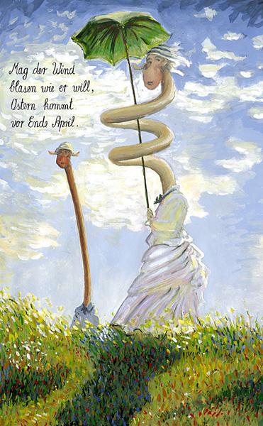 Spaziergang mit Sonnenschirm - Claude Monet