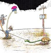 Kunst Cartoon: Der heilige Georg kämpft gegen den Drachen