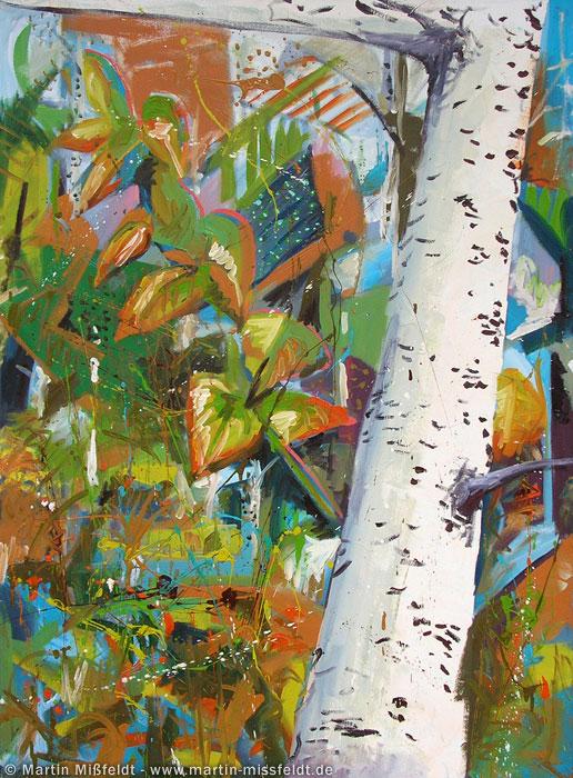 Ölbild: Birke im Herbst