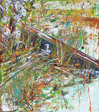 Ölmalerei: Ölmalerei : nasser Herbstboden (abstrakte Malerei)