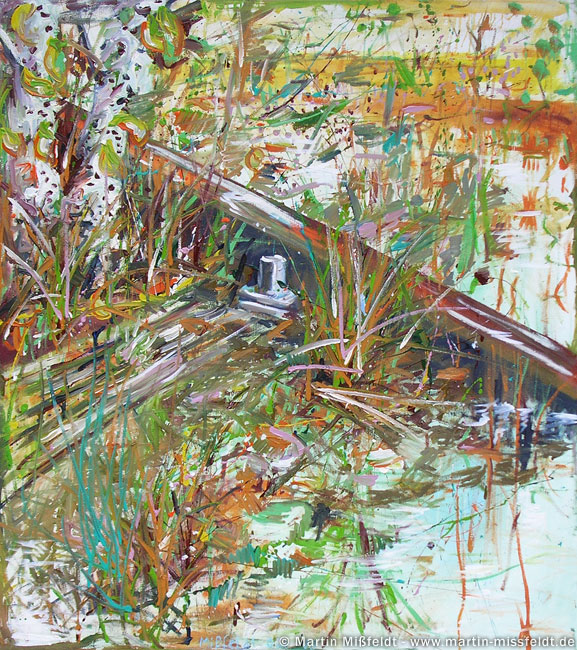 Ölmalerei : nasser Herbstboden (abstrakte Malerei)