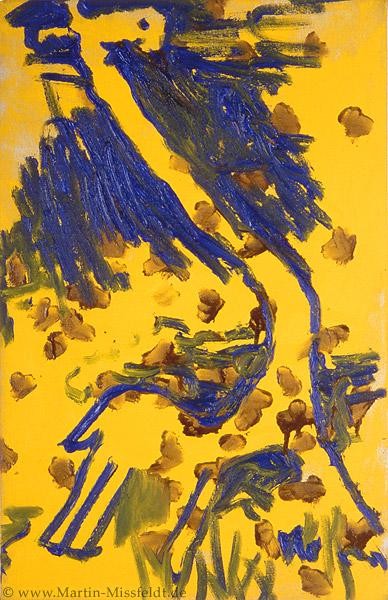 Ölbild: Giraffe auf Gelb