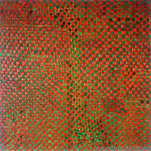 Giraffe hinter Rot Grün - abstraktes Bild