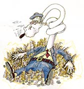Geld, Münzen und reich sein - Kapitalist mit Zigarre