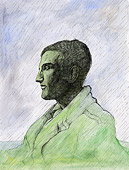 Tusche Zeichnung: Heimat: Marcel Duchamp im Regen