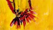 Expressiver Rotschopf auf Gelb
