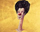 Frau mit roter Nase auf Goldgrund