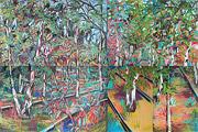 Romantische Ölmalerei: Bäume zwischen Schienen