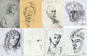 Portraitzeichnungen : Gesichter, mit Bleistift gezeichnet