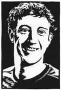 Mark Zuckerberg (Linoldruck)