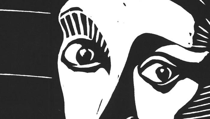 Augen der Frau (Linolschnitt)