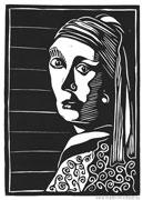 Linolschnitt -Frau