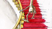 Die Akt Giraffe geht auf der Treppe abwärts