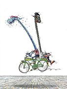 Auf dem Fahrrad malen