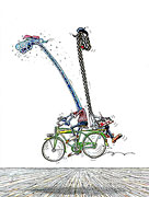 Rückwärts auf Fahrrad malen