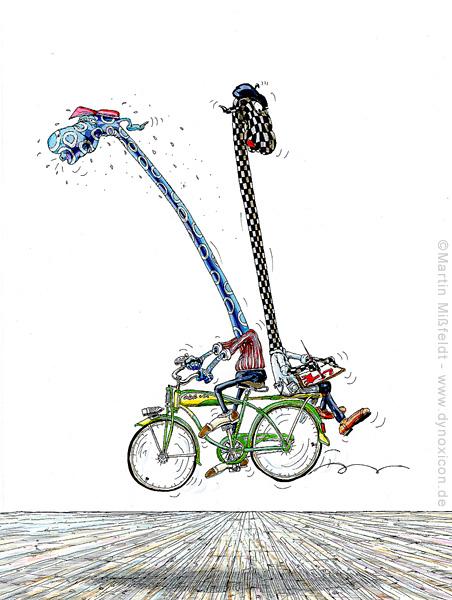 Rückwärts auf dem Fahrrad gemalt