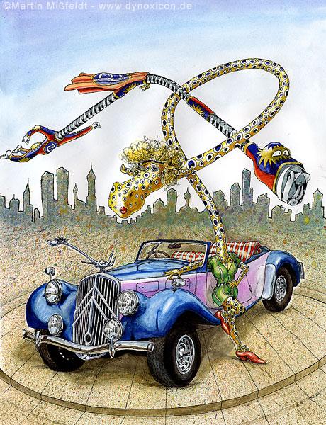 Heißes Auto und flotte Biene - Supermann Cartoon