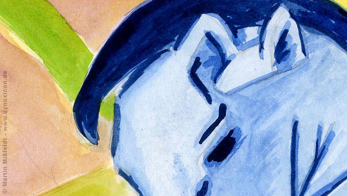 Der Kopf des blauen Pferdes