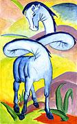 Kunst Cartoon: Das blaue Pferd - nach Franz Marc