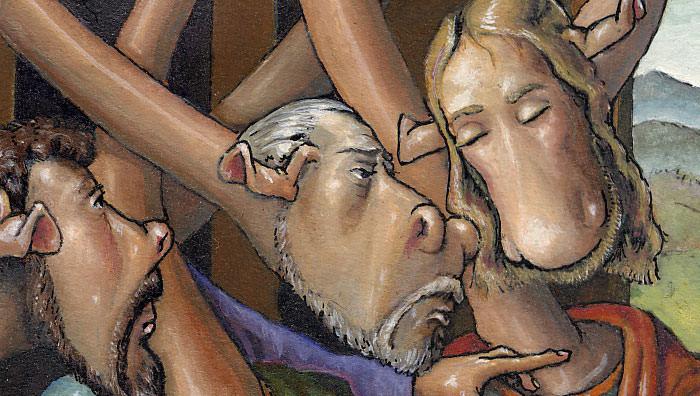 Judas, Petrus und Johannes beim Abendmahl