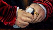 Hände mit Ring und Zettel