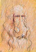 Kunst Cartoon: Leonardo da Vinci | Selbstbildnis im Regen