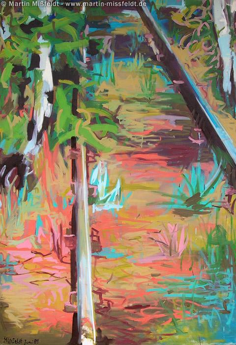 Gestische Malerei: Schiene mit Gräsern
