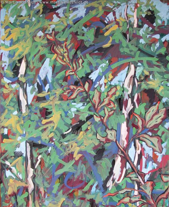 Malerei: Birken und Blätter